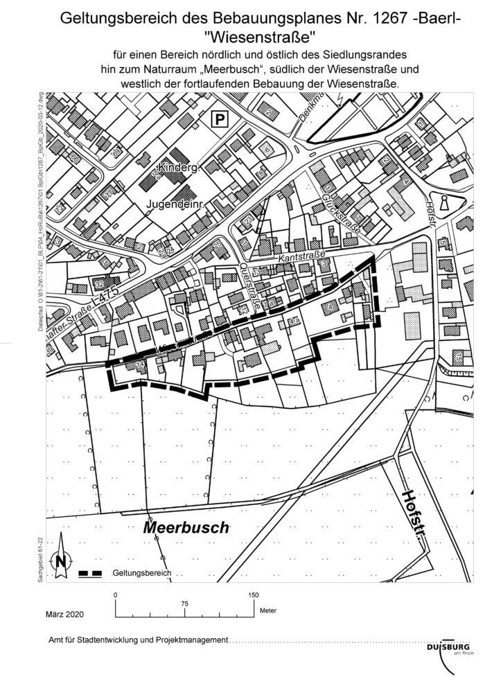 Geltungsberecih de B-Plans Wiesenstraße Baerl